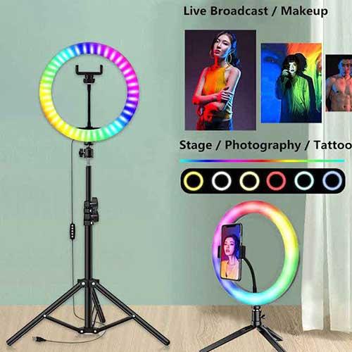 رینگ لایت با پایه رنگی RGB مدل MJ33