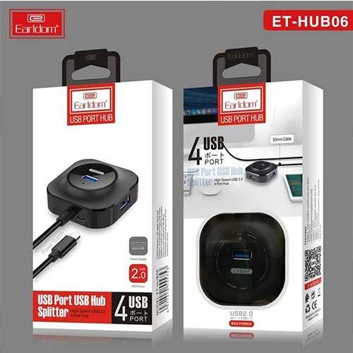 هاب چهار پورت USB 3.0+USB 2.0 مدل Earldom ET-HUB 06