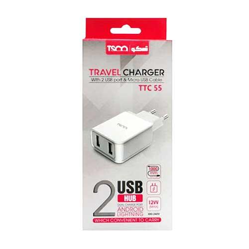 سرشارژر TSCO مدل TTC 55 همراه با کابل میکرو USB