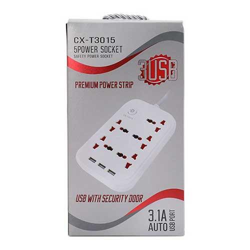 چند راهی برق USB دار مدل CX-T3015